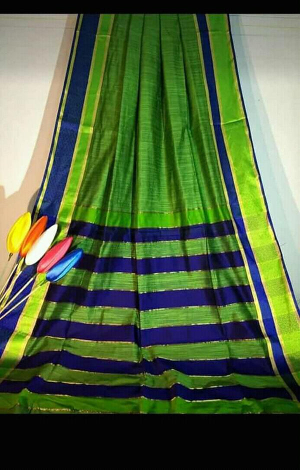 Green Silk by Khadi Saree with Jacquard Border - Indianloom