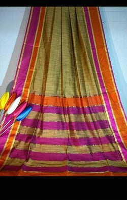 Jute Color Silk by Khadi Saree with Jacquard Border - Indianloom