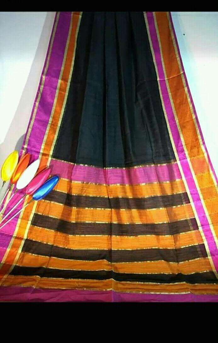Black Silk by Khadi Saree with Jacquard Border - Indianloom
