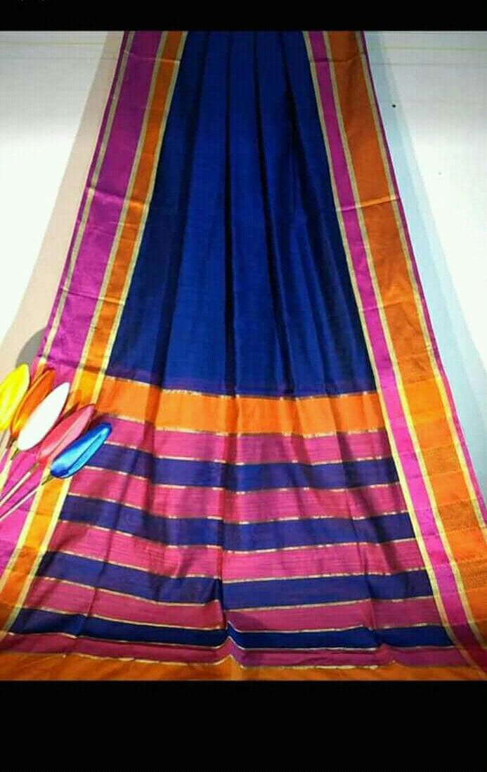 Blue Silk by Khadi Saree with Jacquard Border - Indianloom
