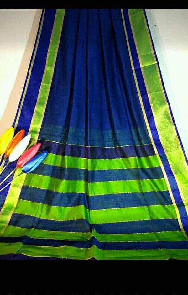 Dark Blue Silk by Khadi Saree with Jacquard Border - Indianloom