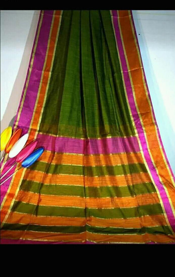 Dull Green Silk by Khadi Saree with Jacquard Border - Indianloom