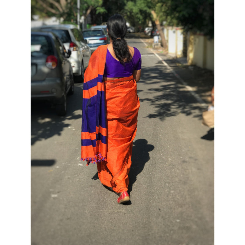 Orange Silk by Cotton Saree - Indianloom