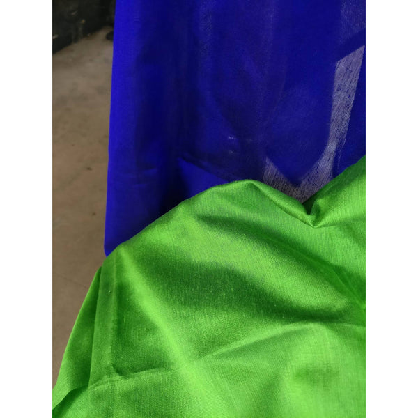 Green Silk by Cotton Saree - Indianloom