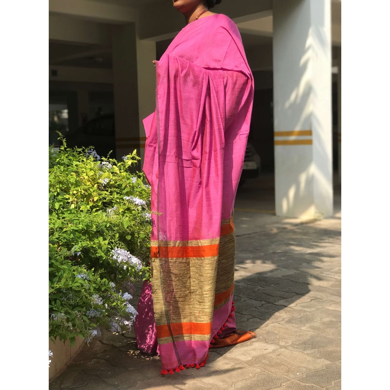 Pink Silk by Cotton Saree with Gicha Pallu - Indianloom
