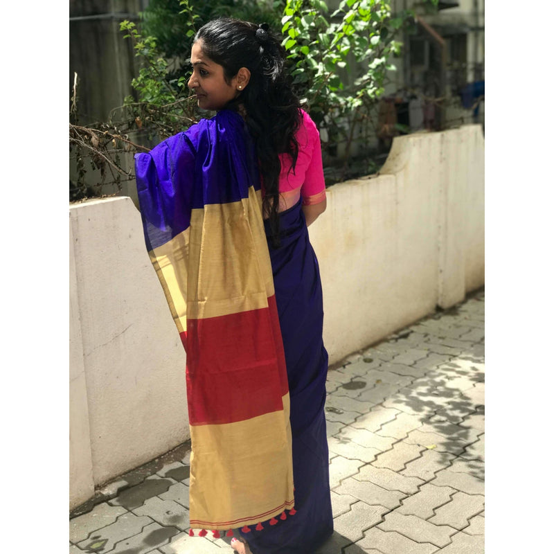 Dark Violet Silk by Cotton Saree - Indianloom