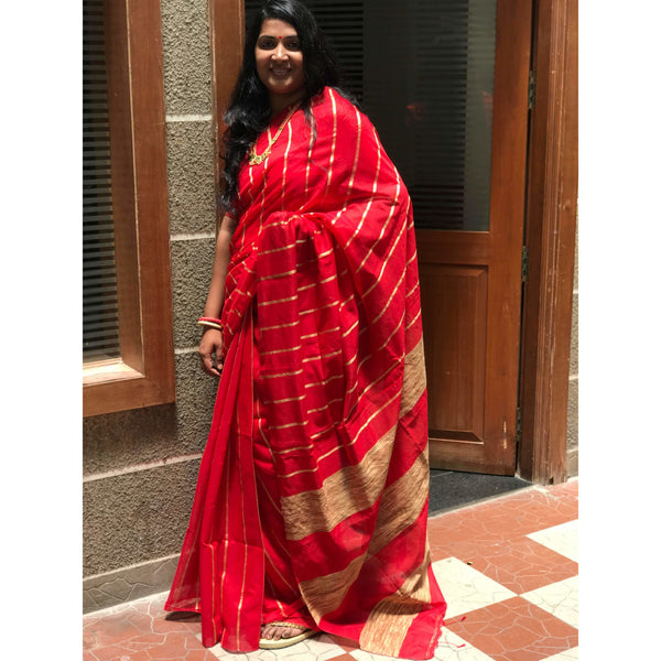 Red Silk & Cotton Mixed Saree with Ghicha Stripes
