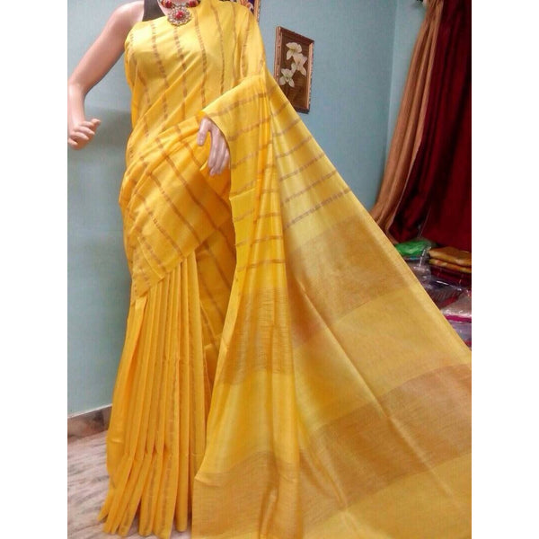 Mustard Yellow Silk & Cotton Mixed Saree with Ghicha Stripes - Indianloom