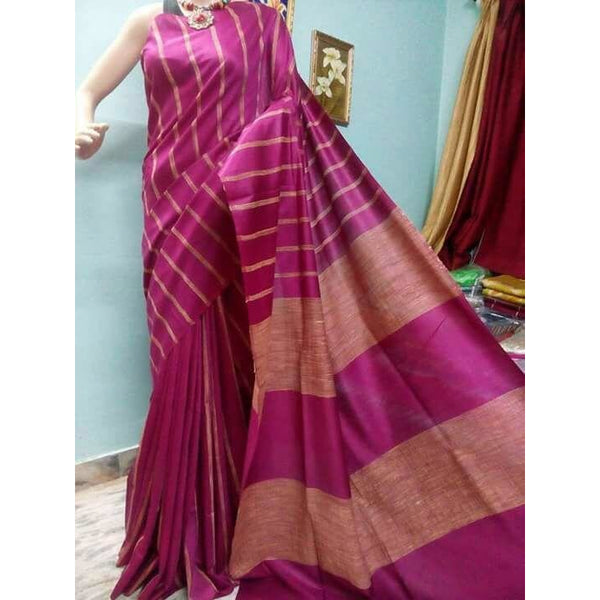 Magenta Silk & Cotton Mixed Saree with Ghicha Stripes - Indianloom