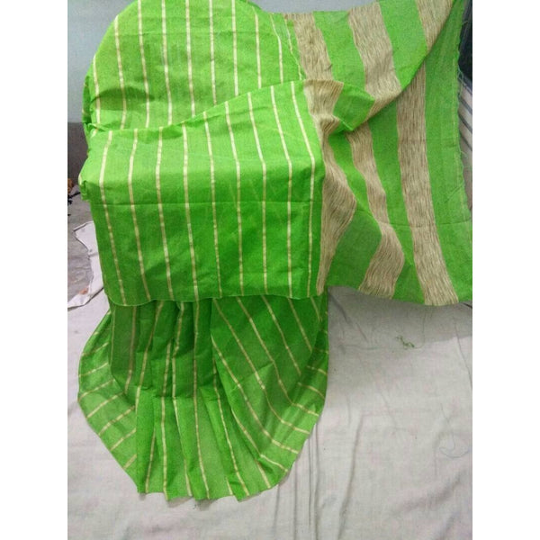 Parrot Green Silk & Cotton Mixed Saree with Ghicha Stripes - Indianloom