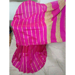 Fusia Pink Silk & Cotton Mixed Saree with Ghicha Stripes - Indianloom