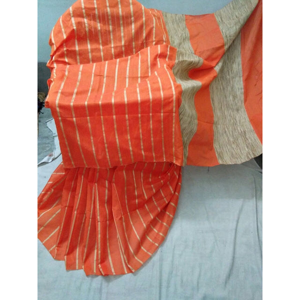 Orange Silk & Cotton Mixed Saree with Ghicha Stripes - Indianloom
