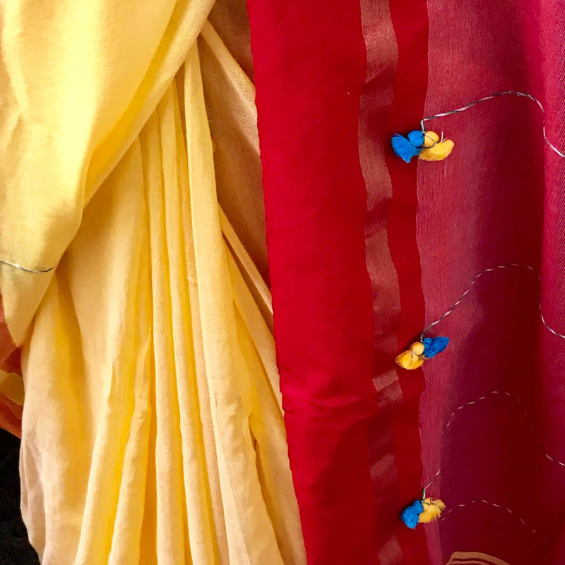 Yellow Soft Cotton Saree With Tassels