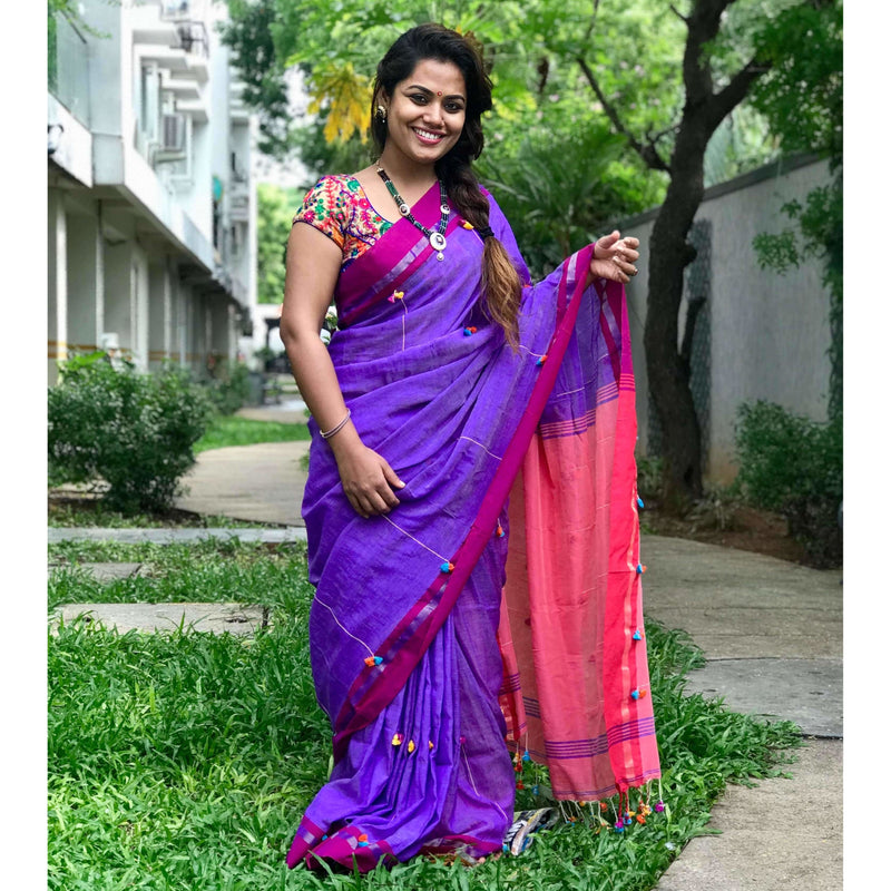 Purple Soft Cotton Saree With Tassels - Indianloom