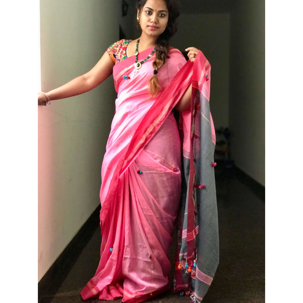 Pink Soft Cotton Saree With Tassels - Indianloom