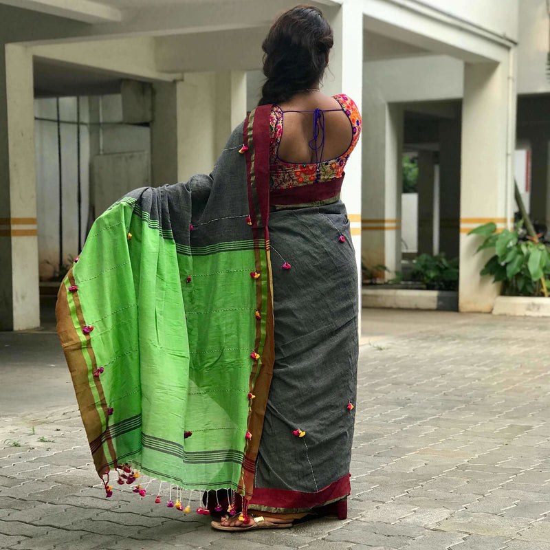 Charcoal Grey Soft Cotton Saree With Tassels - Indianloom