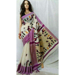 White & Purple Cotton Silk by Noil Saree with Woollen Embroidery