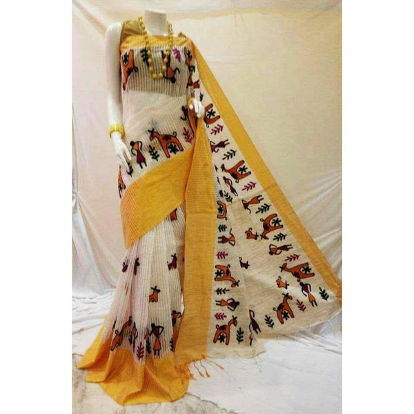 White & Yellow Cotton Silk by Noil Saree with Woollen Embroidery