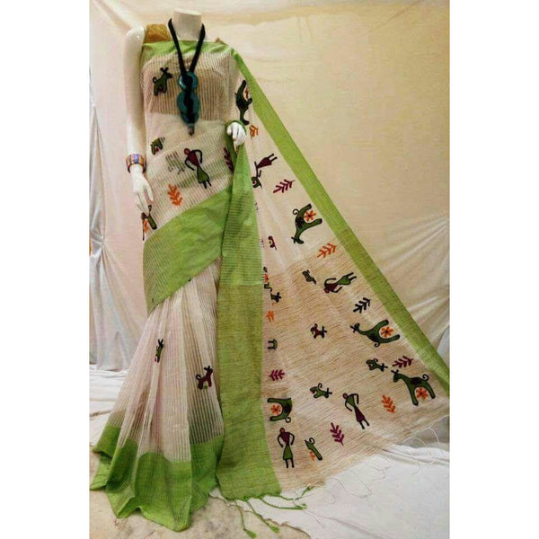 White & Green Cotton Silk by Noil Saree with Woollen Embroidery