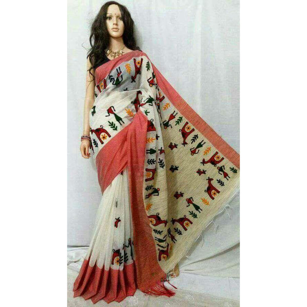 White & Red Cotton Silk by Noil Saree with Woollen Embroidery