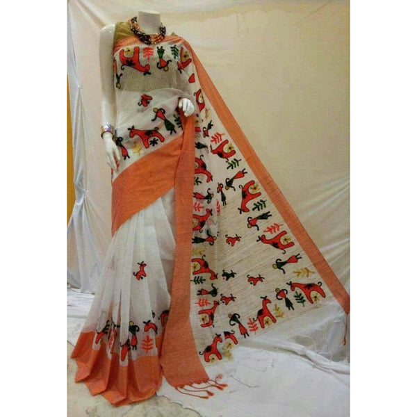 White & Orange Cotton Silk by Noil Saree with Woollen Embroidery