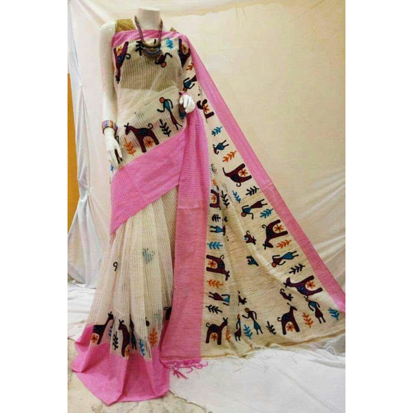 White & Pink Cotton Silk by Noil Saree with Woollen Embroidery