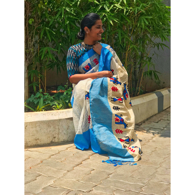 White & Sky Blue Cotton Silk by Noil Saree with Woollen Embroidery