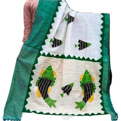 White Silk by Noil Saree with Bottle Green Border & Applique Work