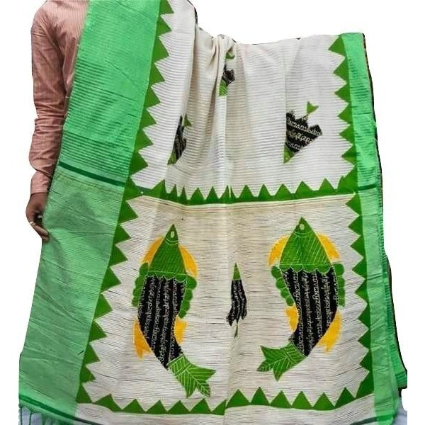Copy of White Silk by Noil Saree with Olive Green Border & Applique Work - Indianloom