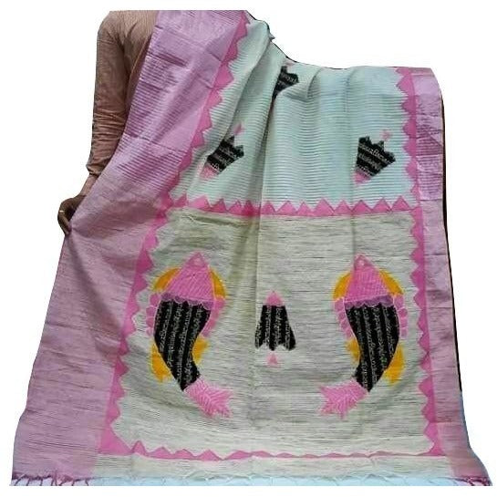 White Silk by Noil Saree with Pink Border & Applique Work