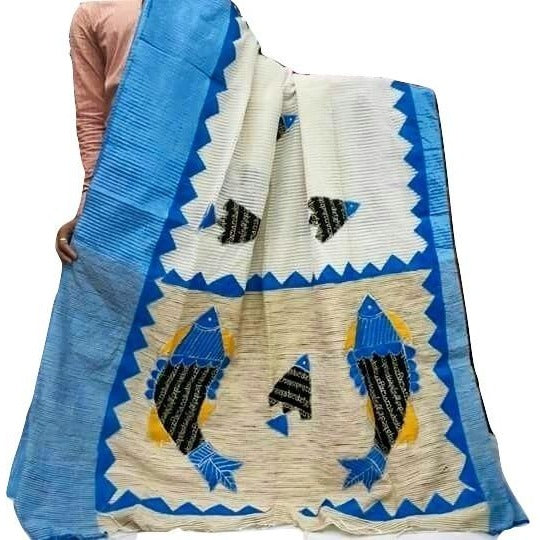 White Silk by Noil Saree with Sky Blue Border & Applique Work