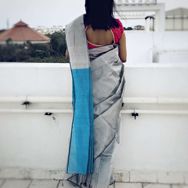 Silver & Blue Color Handloom Tussar And Cotton Mixed Saree
