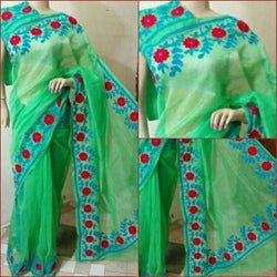 Green Saree With Blue And Red Aari Work - Indianloom