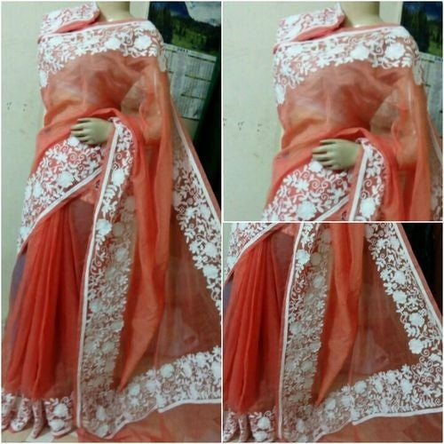 Coral Orange Saree With White Aari Work - Indianloom