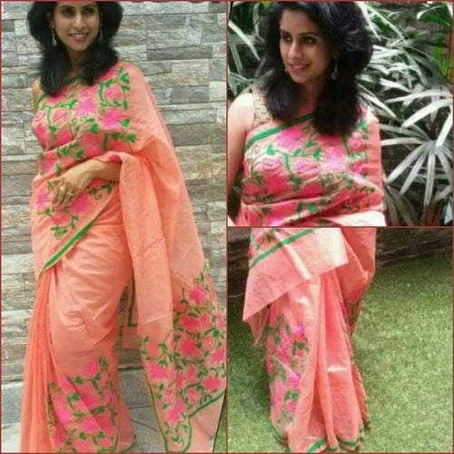 Peach Saree With Green & Pink Aari Work - Indianloom