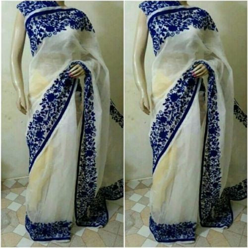 Off White Saree With Indigo Aari Work - Indianloom