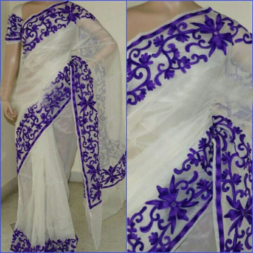 Supernet saree with aari work