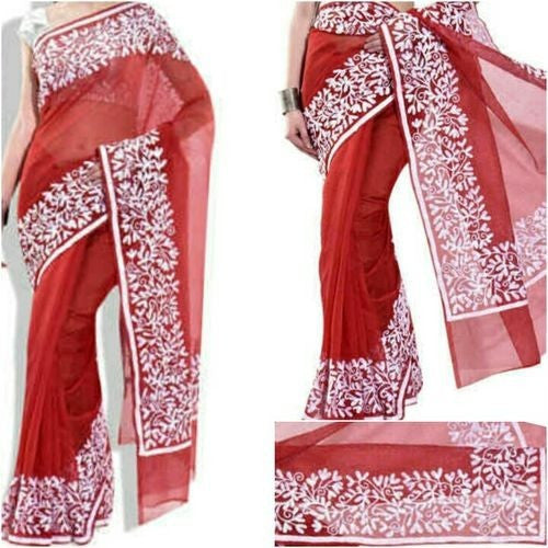 Red Saree With White Aari Work - Indianloom