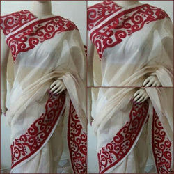 Off White Saree With Red Aari Work - Indianloom