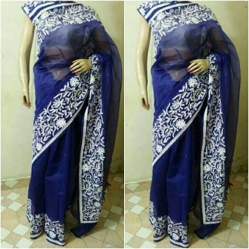 Navy Blue Saree With White Aari Work - Indianloom