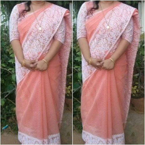 Peach Saree With White Aari Work - Indianloom