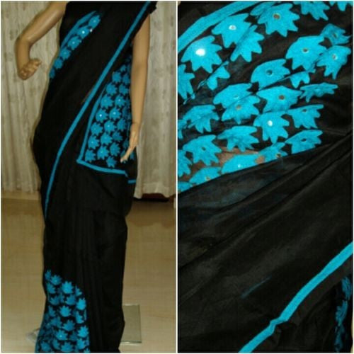 Black Saree With Blue Floral Aari Work - Indianloom