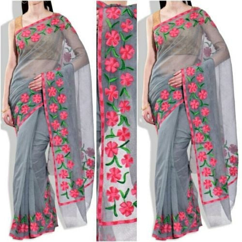 Grey Saree With Pink & Green Aari Work - Indianloom