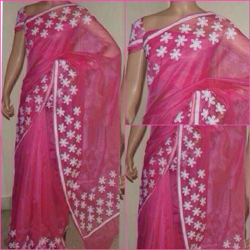 Pink Saree With White Aari Work - Indianloom