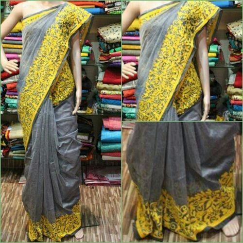 Grey With Yellow Intricate Floral And Leaf Aari Work Saree - Indianloom