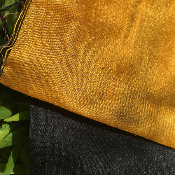 Black Handloom Tussar & Cotton Mixed Saree with Yellow Pallu - Indianloom