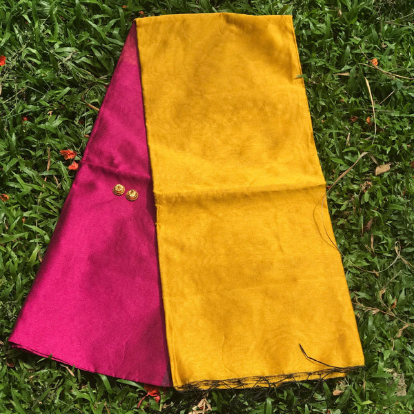 Pink Handloom Tussar & Cotton Mixed Saree with Yellow Pallu - Indianloom