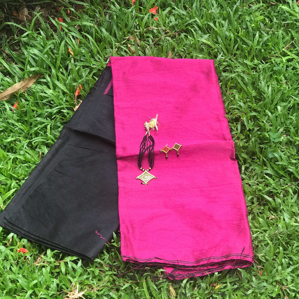 Black Handloom Tussar & Cotton Mixed Saree with Pink Pallu - Indianloom