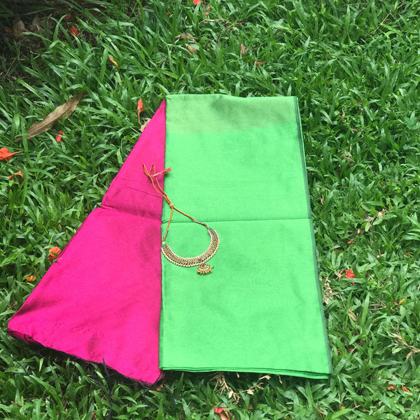 Parrot Green Handloom Tussar & Cotton Mixed Saree with Pink Pallu - Indianloom