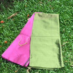 Green Handloom Tussar & Cotton Mixed Saree with Pink Pallu - Indianloom